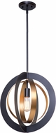 Artcraft AC11231 Capri Modern Dark Bronze & Satin Brass 16.5  Hanging Pendant Lighting