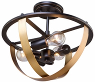 Artcraft AC11233 Capri Contemporary Dark Bronze & Satin Brass Flush Mount Ceiling Light Fixture