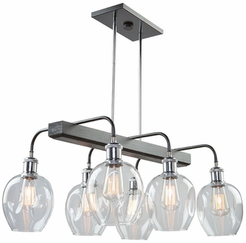 Artcraft AC11346PN Hennessy Modern Polished Nickel & Black Island Lighting