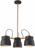 Artcraft AC11363VB Euro Industrial Contemporary Matte Black & Harvest Brass Mini Chandelier Light