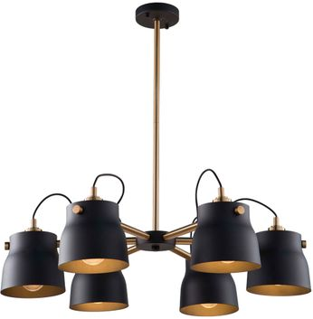 Artcraft AC11366VB Euro Industrial Modern Matte Black & Harvest Brass Chandelier Lighting