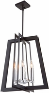Artcraft AC11376 Carlton Modern Matte Black & Polished Nickel 18  Foyer Light Fixture