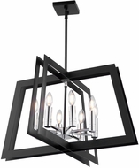 Artcraft AC11378 Carlton Contemporary Matte Black & Polished Nickel Drop Ceiling Light Fixture