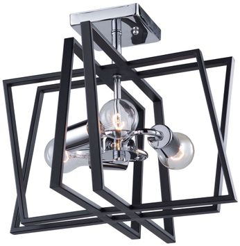 Artcraft AC11383 Middleton Contemporary Matte Black & Polished Chrome Ceiling Light