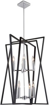 Artcraft AC11388 Middleton Contemporary Matte Black & Polished Chrome 23  Foyer Lighting