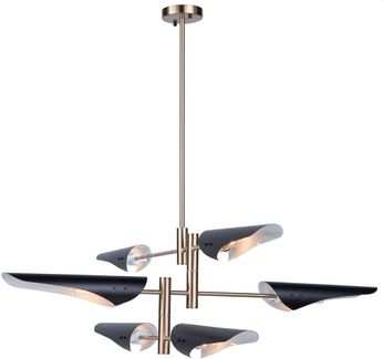 Artcraft AC11396 Modern Renaissance Contemporary Harvest Brass & Black Chandelier Lamp