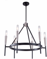 Artcraft AC11416 Flute Contemporary Matte Black & Satin Nickel Chandelier Light