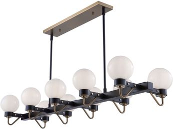 Artcraft AC11420WH Chelton Modern Matte Black & Harvest Brass Kitchen Island Light
