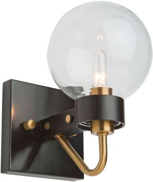 Artcraft AC11421CL Chelton Contemporary Matte Black & Harvest Brass Light Sconce