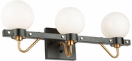 Artcraft AC11422WH Chelton Modern Matte Black and Harvest Brass 3-Light Bathroom Light