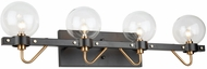 Artcraft AC11424CL Chelton Modern Matte Black and Harvest Brass 4-Light Bathroom Lighting Fixture