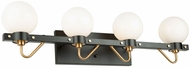 Artcraft AC11424WH Chelton Contemporary Matte Black and Harvest Brass 4-Light Vanity Lighting