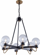Artcraft AC11426CL Chelton Contemporary Matte Black & Harvest Brass Hanging Chandelier