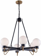 Artcraft AC11426WH Chelton Modern Matte Black & Harvest Brass Chandelier Light
