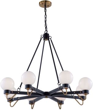 Artcraft AC11428WH Chelton Modern Matte Black & Harvest Brass Lighting Chandelier