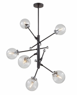 Artcraft AC11436CL Vero Modo Contemporary Matte Black & Chrome Chandelier Lamp