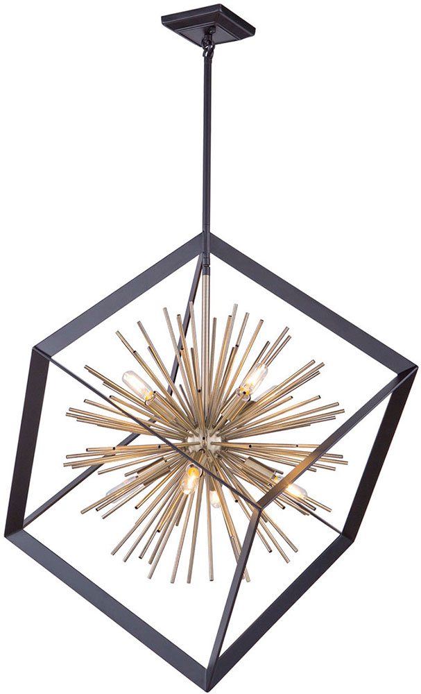 Artcraft Ac11440 Sunburst Contemporary Matte Black Satin Brass 31 5 Pendant Light