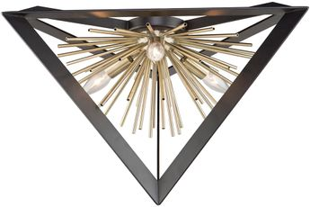 Artcraft AC11442 Sunburst Contemporary Matte Black & Satin Brass Flush Mount Lighting