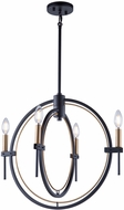 Artcraft AC11454 Anglesey Contemporary Matte Black & Harvest Brass Mini Ceiling Chandelier