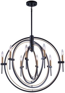 Artcraft AC11458 Anglesey Contemporary Matte Black & Harvest Brass Chandelier Light