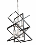 Artcraft AC11470 Vissini Modern Matte Black & Polished Nickel Pendant Lamp