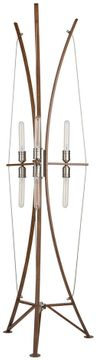 Artcraft AC11484 Arco Contemporary Faux Wood & Brushed Nickel Floor Lamp