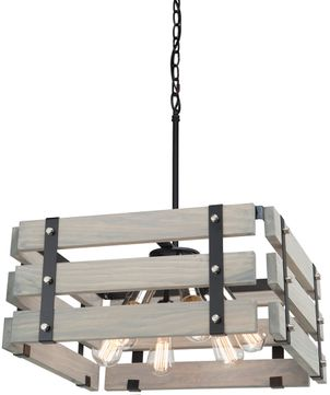Artcraft AC11496BW Barnyard Modern Beach Wood Pendant Lighting Fixture
