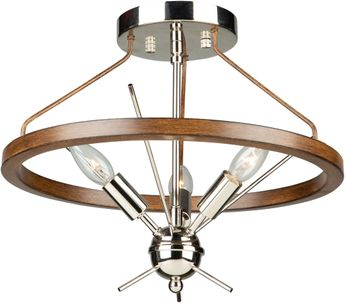 Artcraft AC11553PN Abbey Modern Faux Wood and Polished Nickel Flush Mount Ceiling Light Fixture
