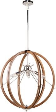 Artcraft AC11556PN Abbey Modern Faux Wood and Polished Nickel 24 Hanging Pendant Lighting