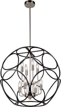 Artcraft AC11568NB Sorrento Contemporary Matte Black and Satin Nickel 24  Hanging Pendant Light