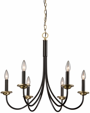 Artcraft AC1786VB Wrought Iron Semi Gloss Black & Vintage Brass Hanging Chandelier