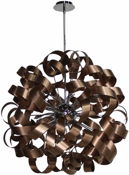 Artcraft AC602CO Bel Air Contemporary Brushed Copper & Chrome Halogen 34  Hanging Light Fixture