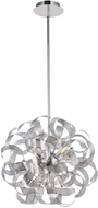 Artcraft AC621CH Bel Air Contemporary Chrome Mesh Leaves Halogen 24  Ceiling Pendant Light