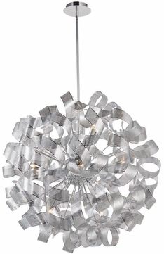 Artcraft AC622CH Bel Air Modern Chrome Mesh Leaves Halogen 34  Drop Ceiling Light Fixture