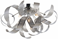 Artcraft AC624CH Bel Air Modern Chrome Mesh Leaves Halogen Ceiling Light Fixture