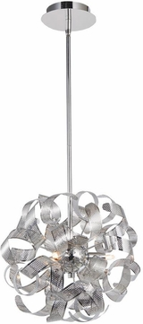 Artcraft AC626CH Bel Air Modern Chrome Mesh Leaves Halogen 12.5  Drop Lighting Fixture