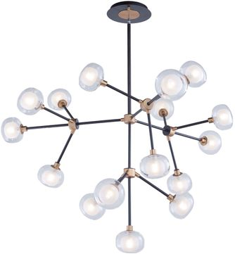 Artcraft AC7006BG Grappolo Modern Matte Black & Vintage Gold LED Chandelier Light