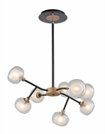 Artcraft AC7008BG Grappolo Contemporary Matte Black & Vintage Gold LED Chandelier Lighting