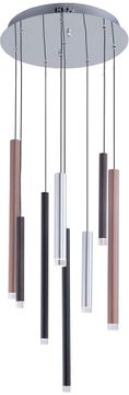 Artcraft AC7088MU Galiano Contemporary Black / Copper / Satin Aluminum LED Multi Hanging Lamp