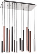 Artcraft AC7099MU Galiano Contemporary Black / Copper / Satin Aluminum LED Multi Hanging Light