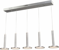 Artcraft AC7555 Aurora Modern Brushed Aluminum LED Multi Hanging Pendant Light