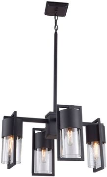 Artcraft AC9148BK Bond Contemporary Matte Black & Brass LED Outdoor Chandelier Lighting