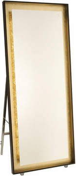 Artcraft AM314 Reflections Contemporary Oil Rubbed Bronze & Gold Leaf LED Wall Mirror