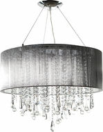 Avenue Lighting HF1500-SLV Beverly Dr. Silver Silk String Finish 20  Tall Halogen Drum Pendant Light Fixture