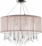 Avenue Lighting HF1500-TP Beverly Dr. Taupe Silk String Finish 32  Wide Halogen Drum Pendant Lighting Fixture