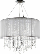 Avenue Lighting HF1502-WHT Beverly Dr. White Silk String Finish 18.5  Tall Halogen Drum Drop Ceiling Light Fixture