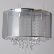 Avenue Lighting HF1504-SLV Riverside Dr. Silver Organza Silk Finish 14.5  Tall Halogen Drum Pendant Lighting