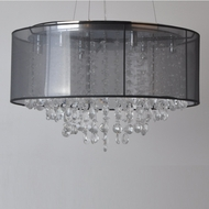 Avenue Lighting HF1505-BLK Riverside Dr. Black Organza Silk Finish 23.5  Wide Halogen Drum Pendant Light