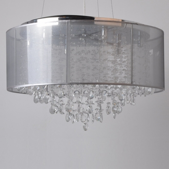 Avenue Lighting HF1505-SLV Riverside Dr. Silver Organza Silk Finish 15  Tall Halogen Drum Lighting Pendant