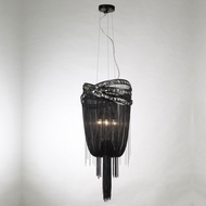 Avenue Lighting HF1608-BLK Wilshire Blvd. Black Chrome Finish 15  Wide Pendant Lighting Fixture